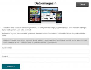 Datormagazin som e-tidning - registrering
